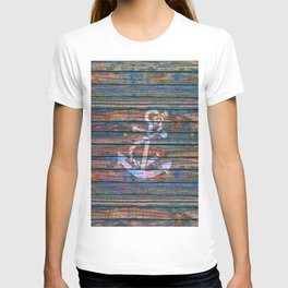 Nautical blue pink watercolor rustic wood white anchor T-shirt
