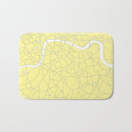 London Yellow on White Street Map Bath Mat