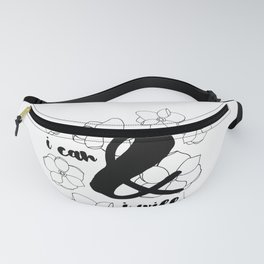 I Can & I Will - Floral - Magnolia Pattern - Black & White - Motivational Fanny Pack