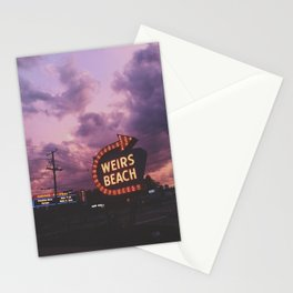 Neon Sign, Weirs Beach New Hampshire Stationery Cards