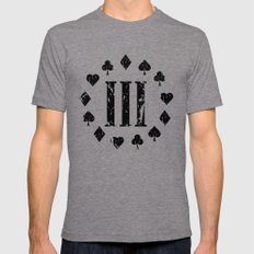 Three Percenter Aces Distressed  Tri-Grey X-LARGE Mens Fitted Tee