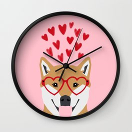 Shiba Inu love hearts dog breed pet gift pure breed shibas must have valentines day Wall Clock
