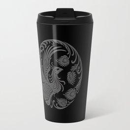 Traditional Gray and Black Chinese Phoenix Circle Travel Mug