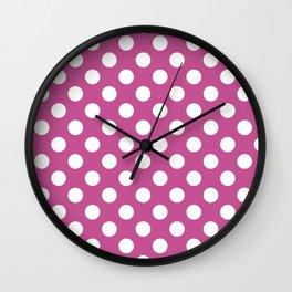 Polka dot pattern/pink background Wall Clock