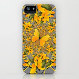 GOLDEN BUTTERFLIES & GREEN FROGS GREY MAMDALA iPhone Case