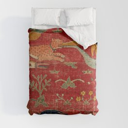 Animal Grotesques Mughal Carpet Fragment Digital Painting Comforters