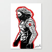winter soldier Canvas Prints featuring Winter Soldier by Lydia Joy Palmer