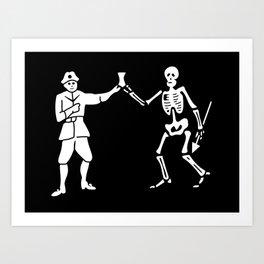 Bartholomew Roberts Pirate Flag Jolly Roger Skeleton Art Print