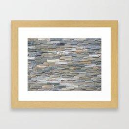 Gray Slate Stone Brick Texture Faux Wall Framed Art Print