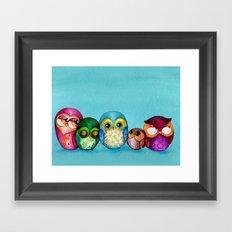 Fabric Owl Family Framed Art Print