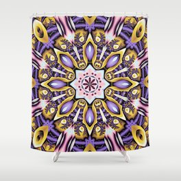 Kaleidoscope in purple, pink, gold and blue Shower Curtain