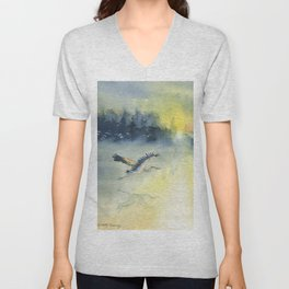 Flying Home - Great Blue Heron Unisex V-Neck