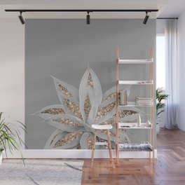 Gray Agave with Gold Glitter #1 #shiny #tropical #decor #art #society6 Wall Mural