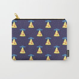 Abstract futuristic print with flying saucers, rays of light with pizza. Carry-All Pouch