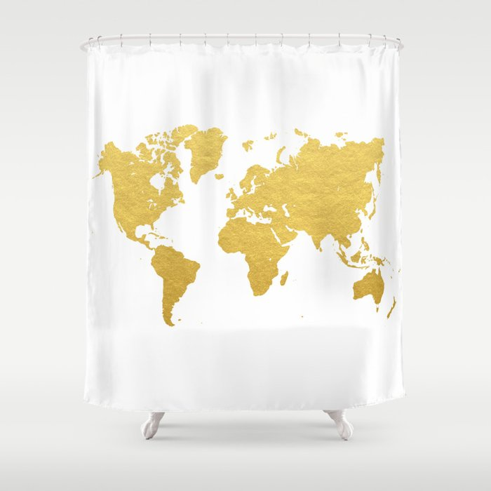 Gold World Map Shower Curtain by bysamantha | Society6