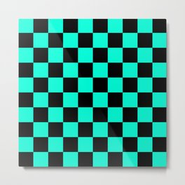 Black and Aqua Checkerboard Pattern Metal Print