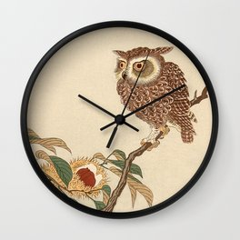 Owl Sitting on Branch Wall Clock