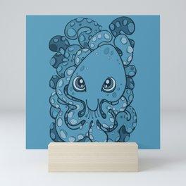 Happy Octopus Squid Kraken Cthulhu Sea Creature - Sailor Blue Mini Art Print