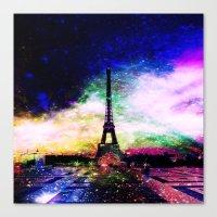 eiffel tower Canvas Prints featuring eiffel tower by haroulita