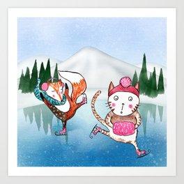 Fox and Cat go ice skating Art Print