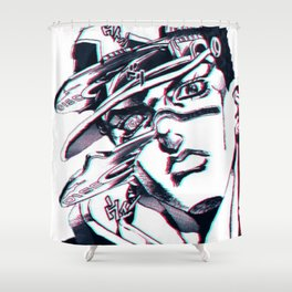 Jotaro Kujo from Jojo's bizarre adventure affected by Whitesnake Shower Curtain