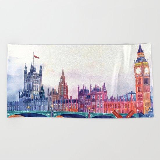 Sunset in London Beach Towel