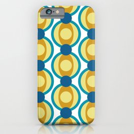 Retro Circle Pattern Mid Century Modern Turquoise Blue and Marigold iPhone Case