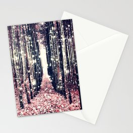 Magical Forest Millennial Pink Pewter Elegance Stationery Cards