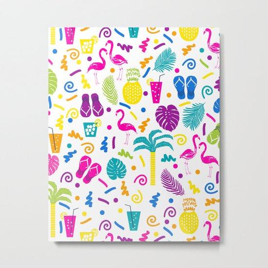Tropical Summer flamingo bird pineapple nature trendy hipster minimal print children vacation desert Metal Print