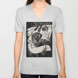 Herbie's Tune, Abstract Jazz Instruments Black and White Block Print Unisex V-Neck