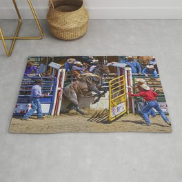 The Release - Rodeo Bronco Riding Rug