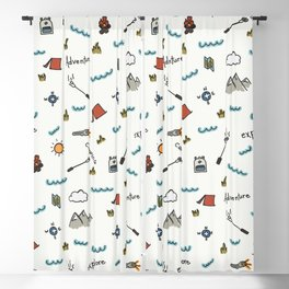 Adventure Pattern | Camping Pattern | Hiking Pattern | Hand Drawn Outdoors Pattern Blackout Curtain