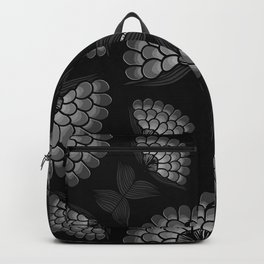 Bold Monochrome Floral Print Backpack