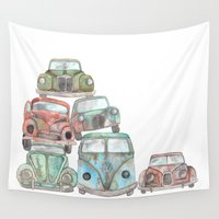 car Wall Tapestries featuring Car Graveyard by Elena O'Neill