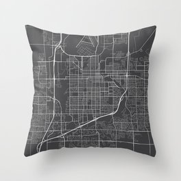 Sioux Falls Map, USA - Gray Throw Pillow