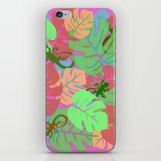 Monstera and Lizards (Retro Pink) iPhone & iPod Skin