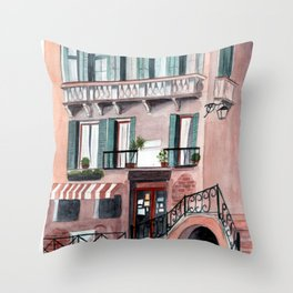 Italy coffee shop watercolor Throw Pillow