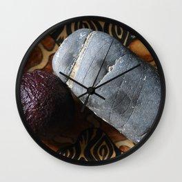 Avocado and Stone Wall Clock