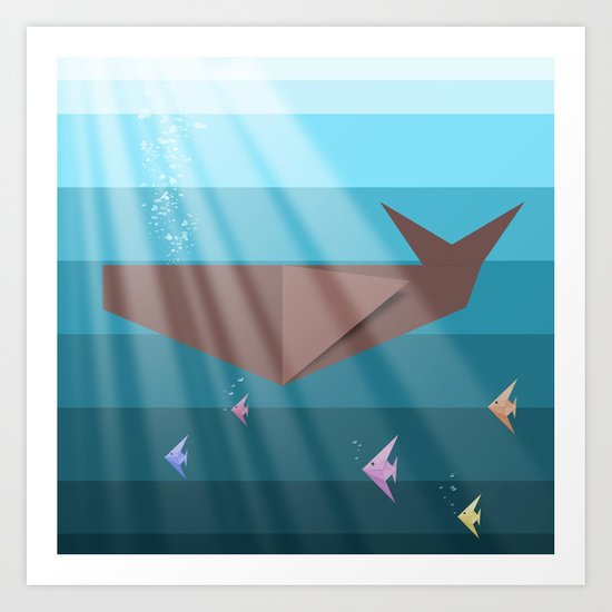 LIVING SEA (origami animals whales) Art Print