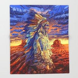 native american colorful portrait Throw Blanket