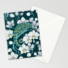 Chameleons and orchids Stationery Cards