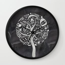 Music tree on chalkboard Wall Clock