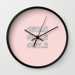 Girls girls girls typography - Girls Gang Prints Wall Clock