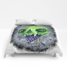 Cat Green Skull with Purple Bees Comforters