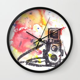 Vintage Rolleiflex Camera Painting Wall Clock