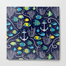 Deep Blue Sea Navy Metal Print