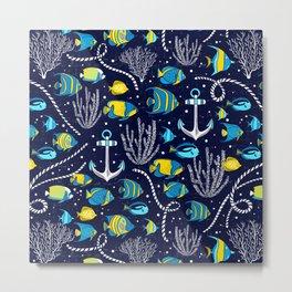 Deep Blue Sea Navy Metal Print