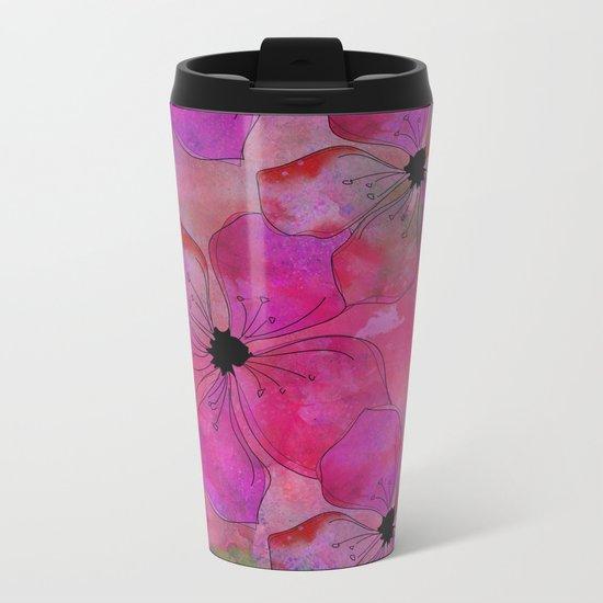 Amazing Pink watercolor floral art Metal Travel Mug