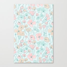 Poppies | Mint and Peach Palette Canvas Print