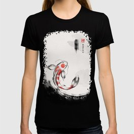 Good Luck And Peace Koi Japanese Ink T-shirt